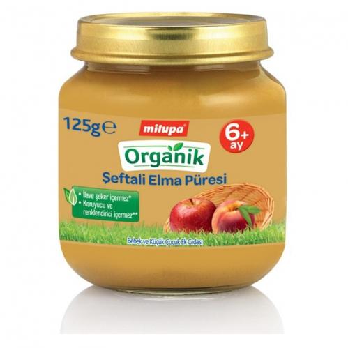 Nutricia - Milupa Organik Şeftali Elma Püresi 125 gr | +6 Ay