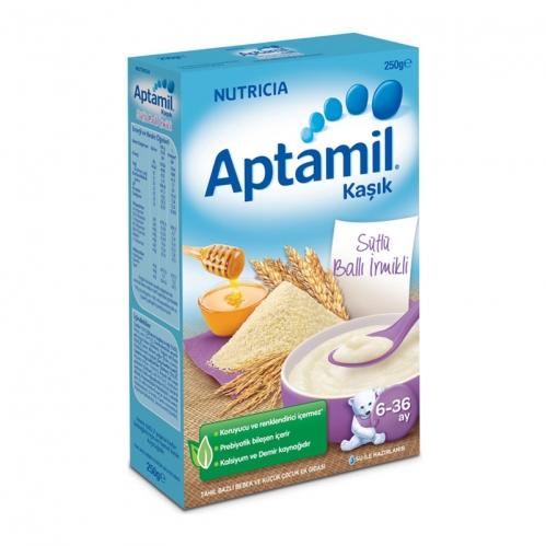 Nutricia - Aptamil Sütlü Sütlü Ballı İrmikli Kaşık Mama 250 gr | 6-36 ay
