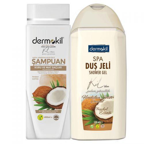 Dermokil - Dermokil Doğal Hindistan Cevizi Şampuan 400 ml + Duş Jeli 500 ml