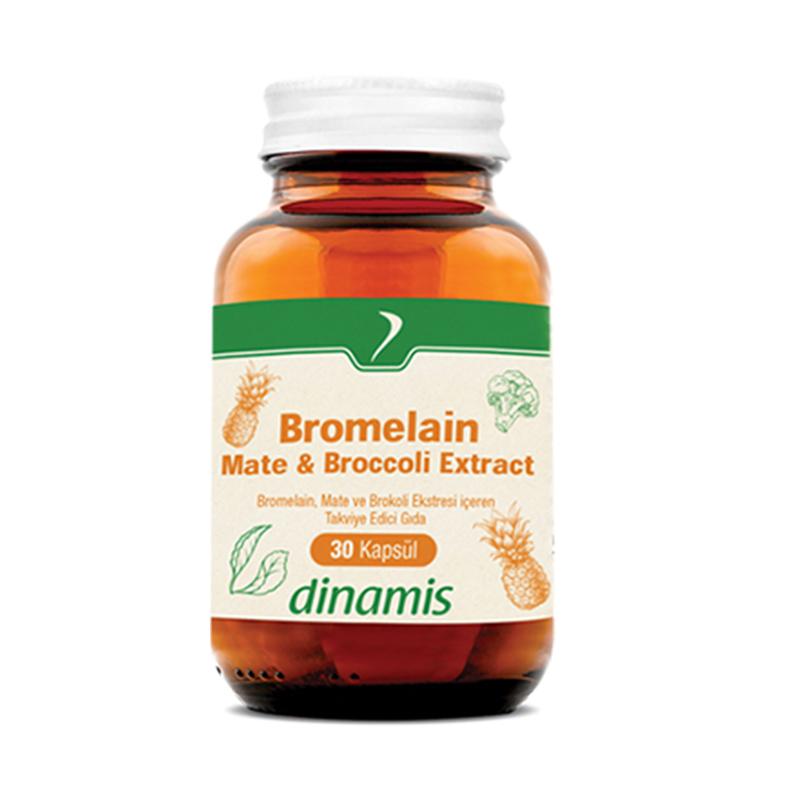 Dinamis - Dinamis Bromelain Mate- Broccoli Extract Takviye Edici Gıda 30 Kapsül