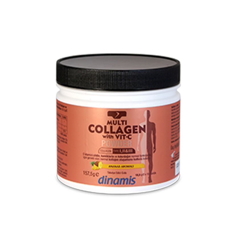 Dinamis - Dinamis Multi Collagen with Vit-C Powder -Ananas Aromalı Takviye Edici Gıda 157,5 gr