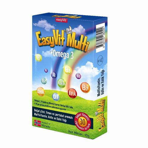 EasyVit - EasyVit Multi + Omega 3 Çiğenebilir Tablet 30 Adet