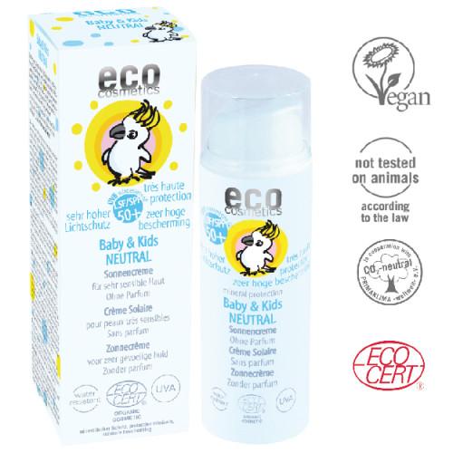 Eco Cosmetics - Eco cosmetics Organik Bebek ve Çocuklara Özel Güneş Koruyucu Losyon - Kokusuz (SPF 50+) 50 ml ÖZEL FİYAT