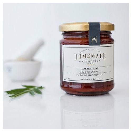 Homemade Aromaterapi - Homemade Aromaterapi Limonotlu Soyalı Mum 210 ml - Amberde