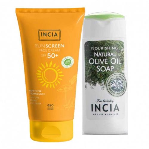 INCIA - INCIA Yüz İçin %100 Doğal Güneş Kremi 50 SPF 50 ml | El ve Vücut Sabunu 50ml HEDİYE!
