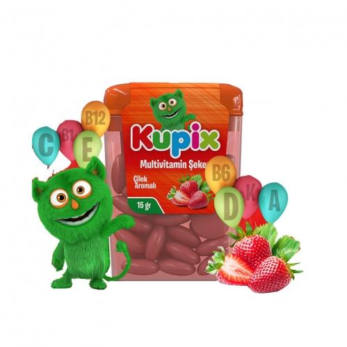 Kupix - Kupix Çilek Aromalı Multivitamin Şeker Takviye Edici gıda 15 gr