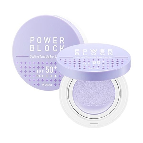 Missha - Missha A'PIEU Power Block Cooling Tone Up Sun Cushion (Azulene) SPF50+ PA++++ 14 g