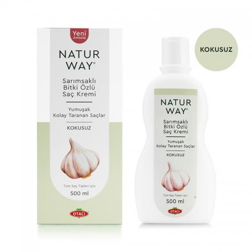 Otacı - Natur Way Sarımsaklı Bitkisel Saç Kremi Kokusuz 500ml