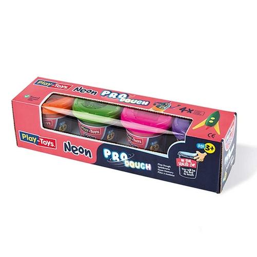 Playtoys - Playtoys Pro Dough Neon 4x140 gr.