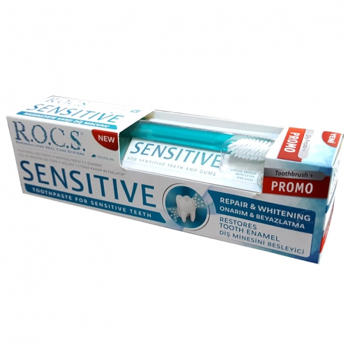 ROCS - ROCS Sensitive Repair and Whitening Diş Macunu 75ml | Diş Fırçası HEDİYE