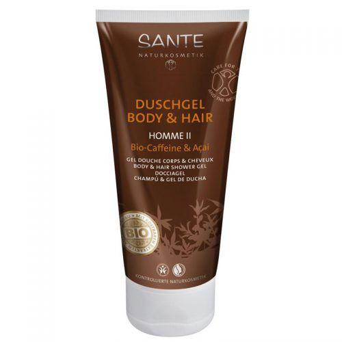 Sante - Sante 2 si 1 Arada Erkek Duş Jeli ve Şampuan Organik Kafein ve Açai Özlü 200ml