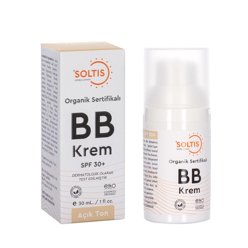 Soltis - Soltis Organik Sertifikalı SPF 30+ Açık Ton BB Krem 30 ml