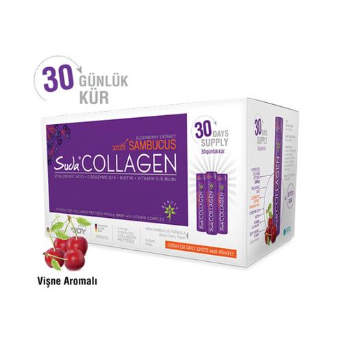 Suda Collagen - Suda Collagen Sambucus Takviye Edici Gıda Vişne Aromalı 30x40 ml