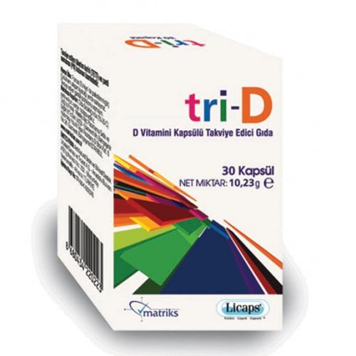 Matriks İlaç - Tri-D D Vitamini Kapsülü Takviye Edici Gıda 30 Kapsül