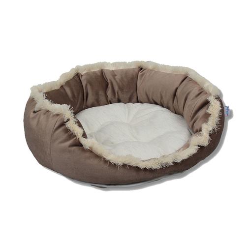 Tulyano - Tulyano Püsküllü Kedi ve Köpek Yatağı 50x50x23 cm - Kahve