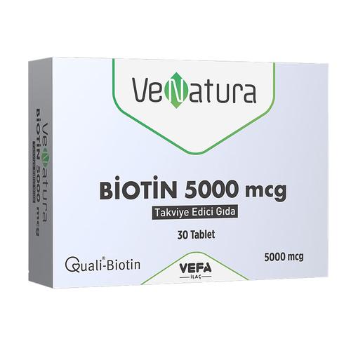 VeNatura - VeNatura Biotin 5000 mcg Takviye Edici Gıda 30 Tablet