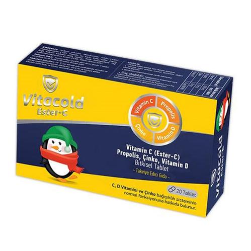 Vitacold - Vitacold Ester-C Vitamin C Takviye Edici Gıda 20 Tablet