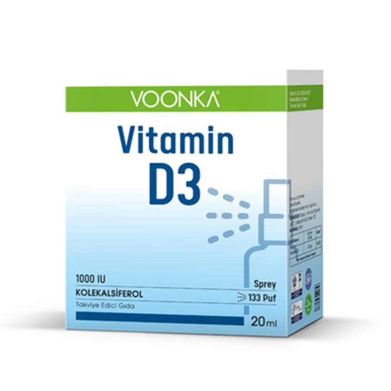 Voonka - Voonka Vitamin D3 1000 IU Takviye Edici Gıda Sprey 20 ml