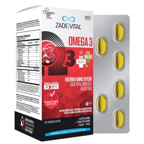 Zade Vital - Zade Vital Omega 3 Balık Yağı İçeren Takviye Edici Gıda 30 Yumuşak Kapsül