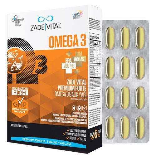 Zade Vital - Zade Vital Omega 3 Forte Balık Yağı 40 Yumuşak Kapsül