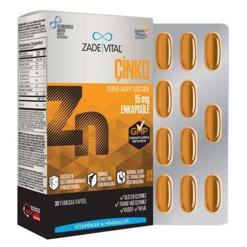 Zade Vital Zinc Takviye Edici Gıda 30 Yumuşak Kapsül