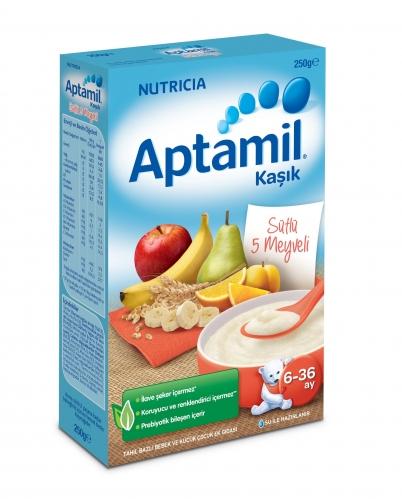 Nutricia - Aptamil Sütlü 5 Meyveli Tahıl Bazlı Kaşık Mama 250 gr | 6-36 ay