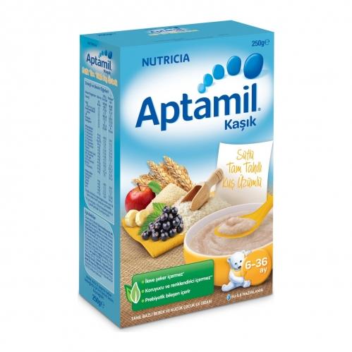 Nutricia - Aptamil Sütlü Tam Tahıllı Kuş Üzümlü Kaşık Mama 250 gr | 6-36 ay