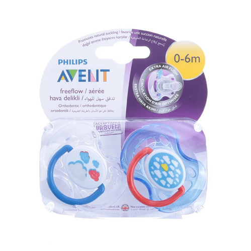 Avent - Avent Klasik Ortodontik Emzik 0-6ay 2 li Renkli Tasarım