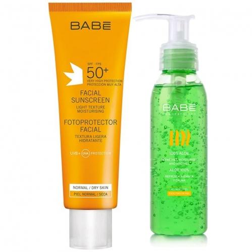 Babe - Babe Güneş Koruma Yüz İçin Spf 50+ Krem 50 ml %100 Aloe HEDİYE