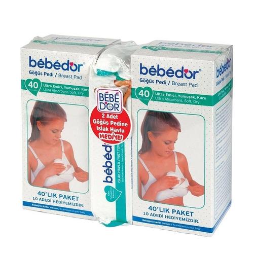 Bebedor - Bebedor 2′li Göğüs Pedi 80 Adet Pamuklu Islak Mendil HEDİYELİ