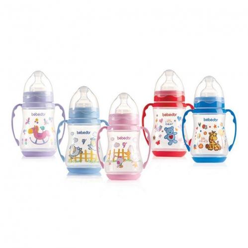 Bebedor - Bebedor Desenli Geniş Ağız Kulplu Biberon 250 ml