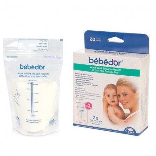 Bebedor - Bebedor Kilitli Anne Sütü Saklama Poşeti 20 Adet