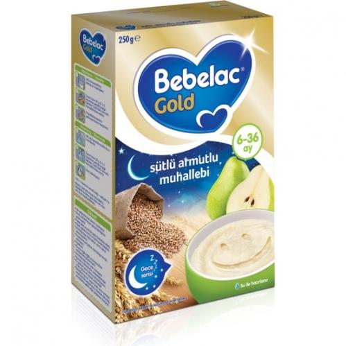 Nutricia - Bebelac Gold Sütlü Armutlu Muhallebi Kaşık Maması (Gece) 250 gr | 6-36 ay