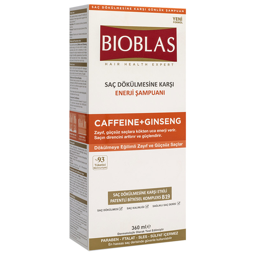 Bioblas - Bioblas Saç Dökülmesine Karşı Enerji Şampuanı Caffeine + Ginseng 360 ml