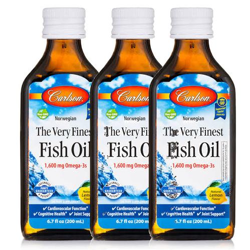Carlson - Carlson Fish Oil Omega 3 Balık Yağı Şurubu Limon Aromalı 200ml(3'lü)