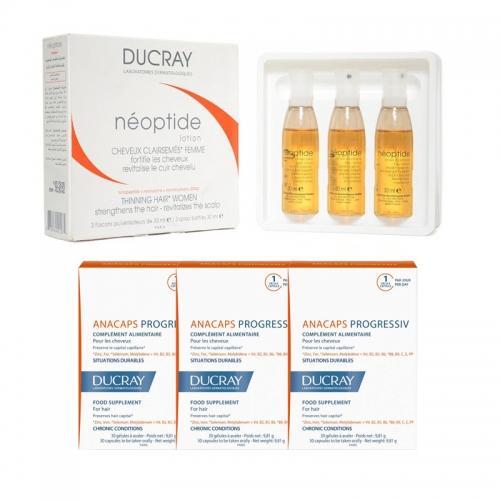 Ducray Anacaps Progressiv 30 Kapsül (3 adet) + Ducray Neoptide Kadın Tipi Dökülmeye Karşı Losyon