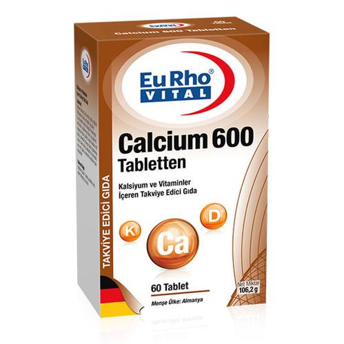 EuRho Vital - EuRho Vital Calcium 600 Tabletten Takviye Edici Gıda 60 Tablet