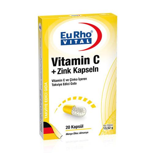EuRho Vital - EuRho Vital Vitamin C + Zink Kapseln Takviye Edici Gıda 20 Kapsül