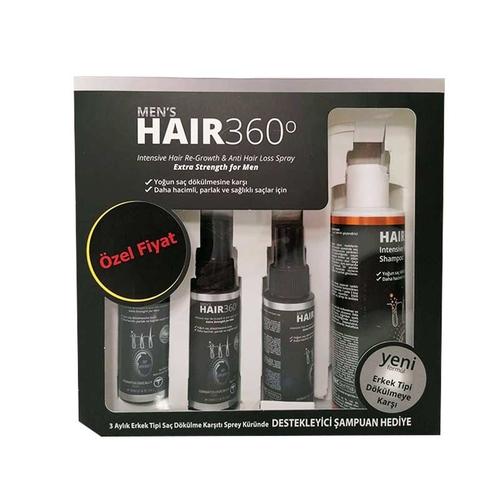 Hair 360 - Hair 360 Erkekler İçin Yoğun Saç Spreyi 3x50 ml + Hair 360 Saç Dökülme Karşıtı Şampuan 200 ml HEDİYE