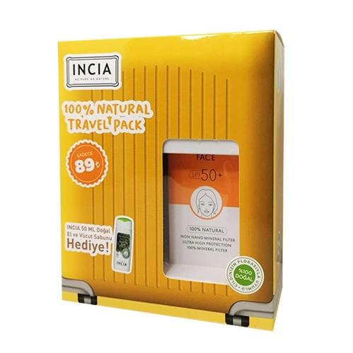 INCIA - Incia Yüz İçin %100 Doğal Güneş Kremi Spf 50 50 ml - Doğal El ve Vücut Sabunu 50 ml HEDİYE