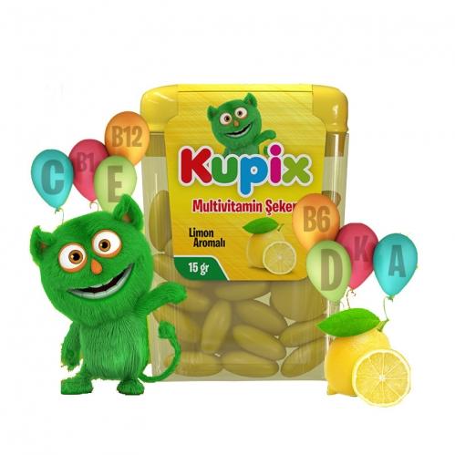 Kupix - Kupix Limon Aromalı Multivitamin Şeker Takviye Edici gıda 15 gr