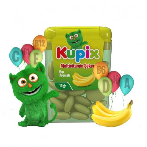 Kupix - Kupix Muz Aromalı Multivitamin Şeker Takviye Edici gıda 15 gr