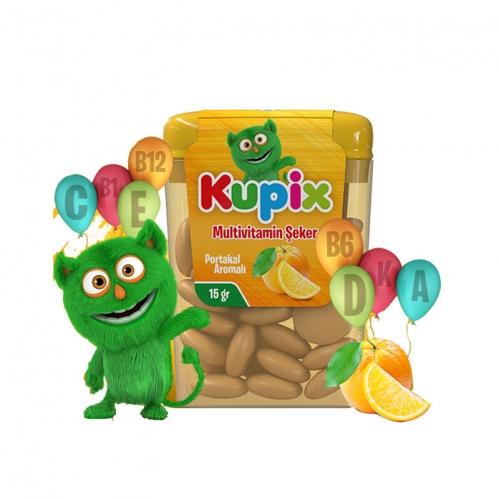 Kupix - Kupix Portakal Aromalı Multivitamin Şeker Takviye Edici gıda 15 gr