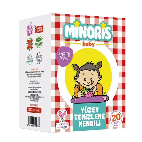 Minoris - Minoris Baby Organik Yüzey Temizleme Mendili Tek Paketli 20 Adet