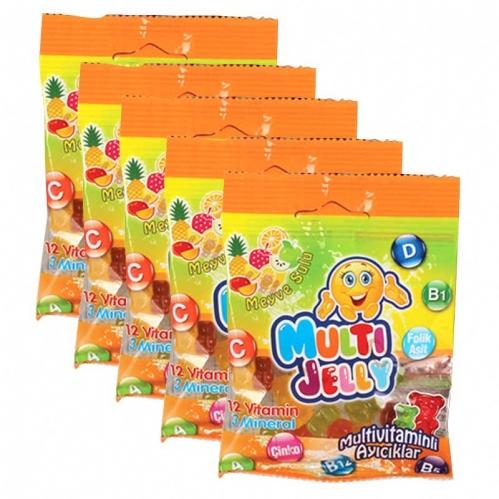 Multiball - Multi Jelly Multivitaminli Ayıcıklar Jelibon 20gr x 5 Adet