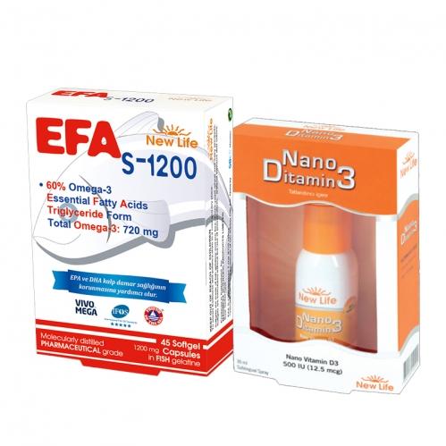 New Life - New Life EFA S-1200 - 720mg Omega 3 - 45 Kapsül + Nano Ditamin3 - D Vitamini 30ml