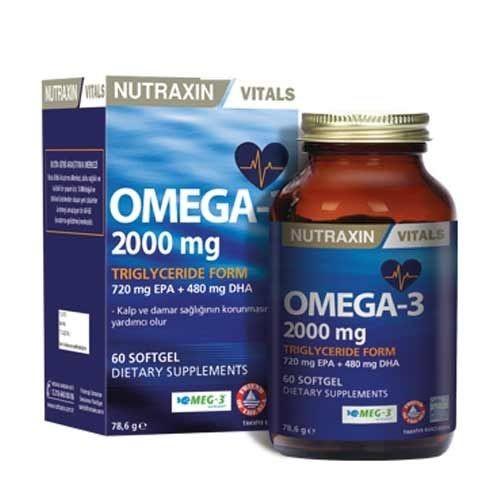 Nutraxin - Nutraxin Omega 3 Balık Yağı 2000 mg 60 SoftGel