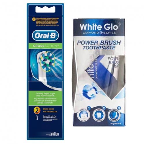 White Glo - Oral-b Cross Action Diş Fırçası Yedek Başlığı 2 Adet - White Glo Power Brush Toothpaste 65ml