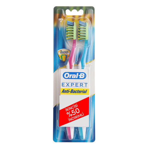 Oral-b - Oral-B Expert Antibacterial Yetişkin İkili Diş Fırçası