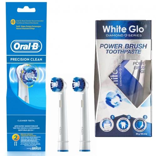 White Glo - Oral-b Precision Clean Diş Fırçası Yedek Başlığı 2 Adet - White Glo Power Brush Toothpaste 65ml